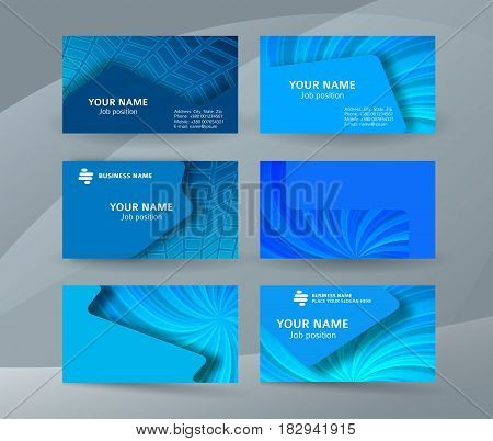 Business Card Background Blue Set Of Horizontal Templates01