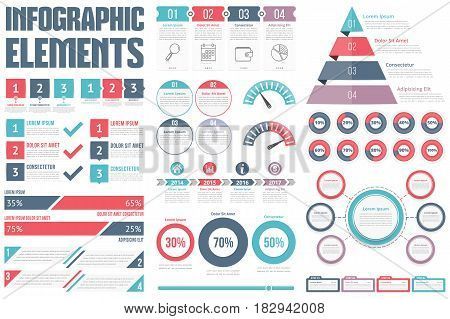 Infographic Elements - process infographics, steps and options, circle diagram, workflow diagrams, timeline, pyramid chart, percents visualization, vector eps10 illustration