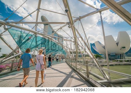 Caucasian Tourist On Helix Bridge In Marina Bay, Singapore