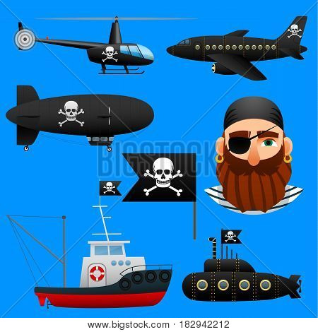 Collection of pirate transport, set of aircraft and boats with pirate symbols. Vector illustration.