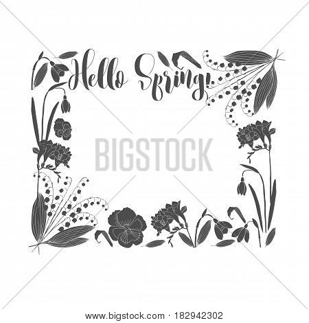 Spring Flowers Composition. Background with  Hand drawn sketches.Vector Illustration