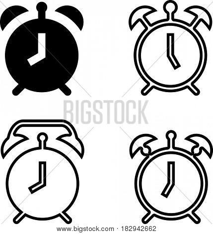 Alarm Clock Icon  Raster Illustration