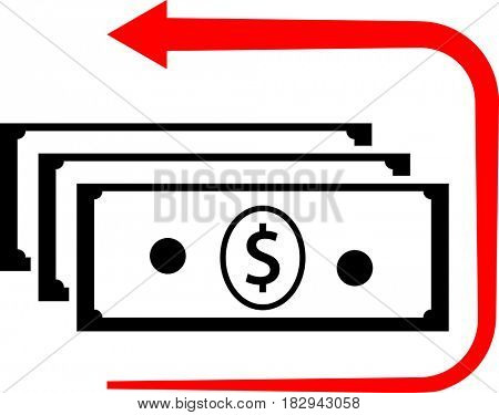 Money Back Dollar Icon  Raster Illustration
