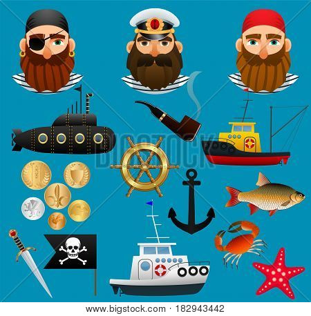 Pirate, sea captain and fisherman. Portraits of people of sea professions, their ships and things. Set of objects nautical theme. Vector illustration.