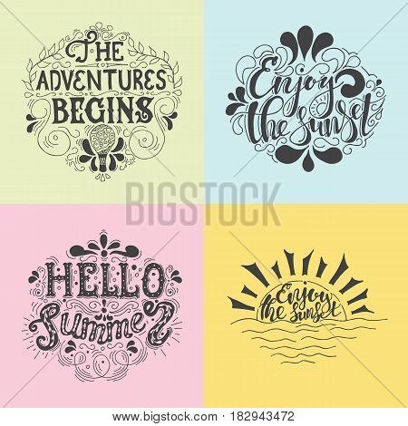 Summer Hand drawn lettering, typography inscriptionAdventures begins. Inspiring label, greeting card, template, poster, banner