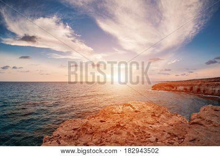 sunset in Cyprus - Mediterranean Sea coast. Sea Caves near Ayia Napa