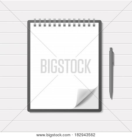 Blank realistic top spiral notebook with pen mockup