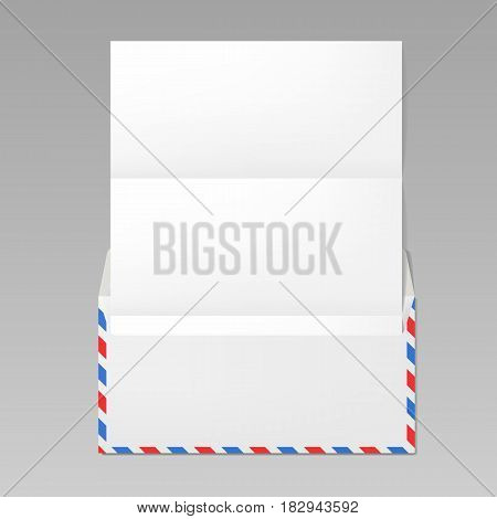 Open airmail envelope with folded paper realistic mockup