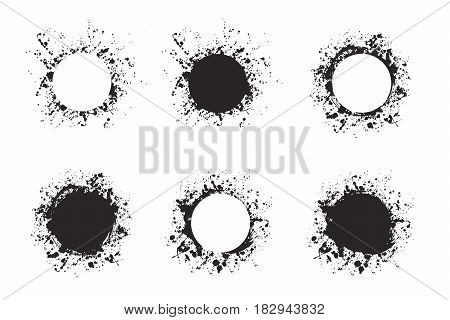 Splatter ink round frame backgrounds paints set with black splash on white. Grunge blots and drops. High quality manually traced vector illustration