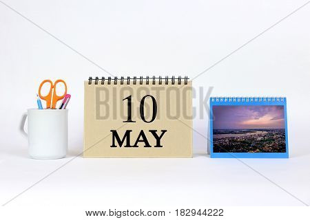 Deadline 10 May Calendar With White Background and Office.