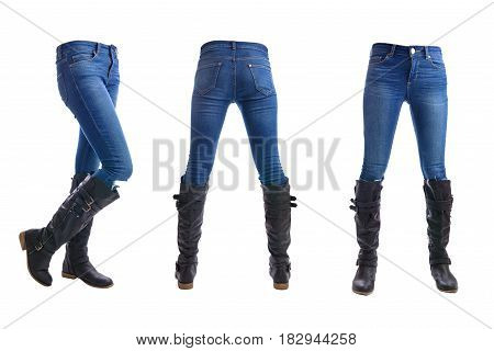 Jeans trousers on white background whit clipping parth.