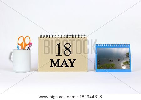 Deadline 18 May Calendar With White Background and Office.