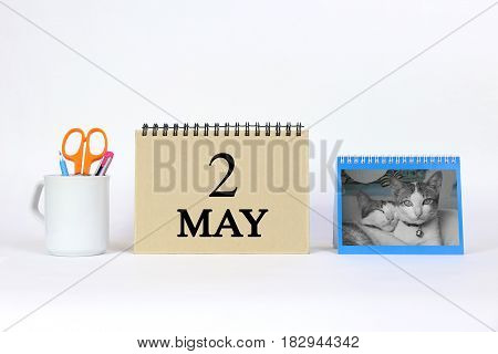 Deadline 2 May Calendar With White Background and Office.