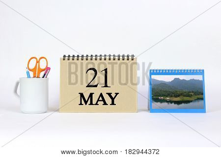 Deadline 21 May Calendar With White Background and Office.