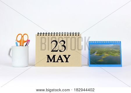 Deadline 23 May Calendar With White Background and Office.