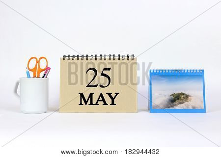 Deadline 25 May Calendar With White Background and Office.