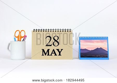 Deadline 28 May Calendar With White Background and Office.