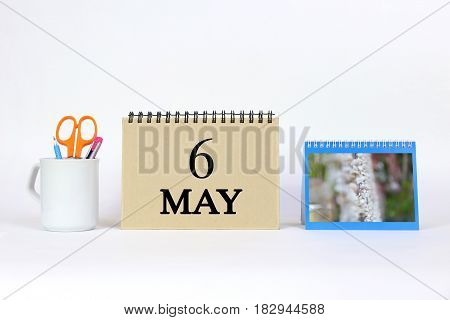 Deadline 6 May Calendar With White Background and Office.