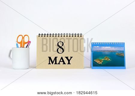 Deadline 8 May Calendar With White Background and Office.