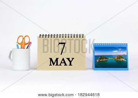 Deadline 7 May Calendar With White Background and Office.