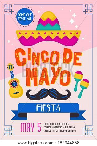 Cinco De Mayo Mexican Holiday Banner, Poster And Party Invitation Design