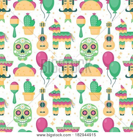 Cinco De Mayo Mexican Holiday Seamless Pattern Background