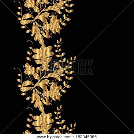 Seamless classic vector golden pattern. Floral ornament brocade textile pattern glass metal with floral pattern on black background with golden elements.