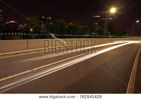 Empty Road Textured Floor At Car Light Trail Of Night Scene In Guangzhou