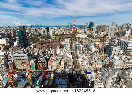 Cityscape of tokyo skyline in the morning with tokyo tower Japan central business district