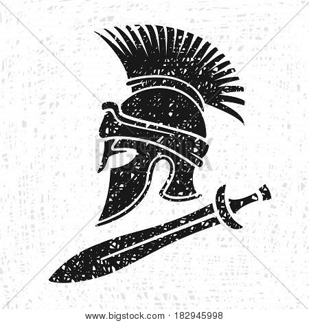 Ancient Military Helmet and Sword Vector Illustration