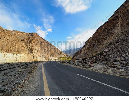 Old Silk Road Along The Karakoram Highway In Pakistan