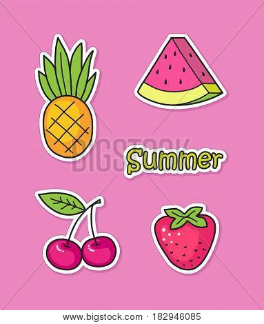 Collection of cute stickers with summer fruits and berries