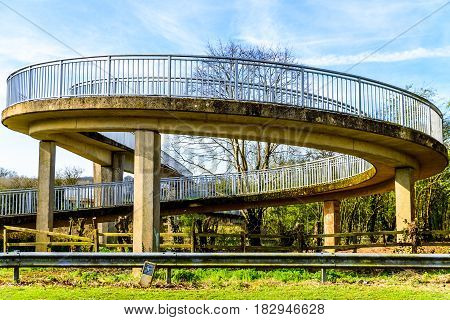 Day view pedestrian bridge over uk motorway.