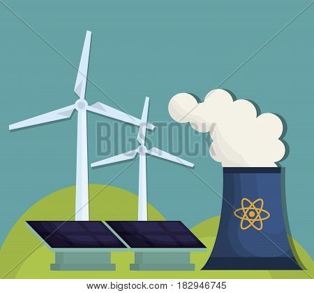 nuclear plant, solar panels and eolic wind turbines over blue background. colorful design. vector illustration