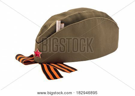 Military cap with red star and cigarettes concept isolated on white