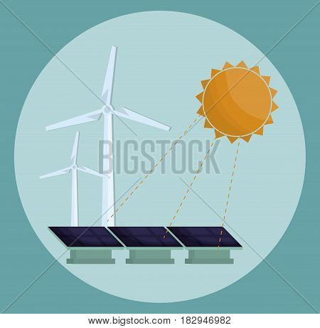 sun, eolic turbines and solar panel icon over blue background. colorful design. vector illustration