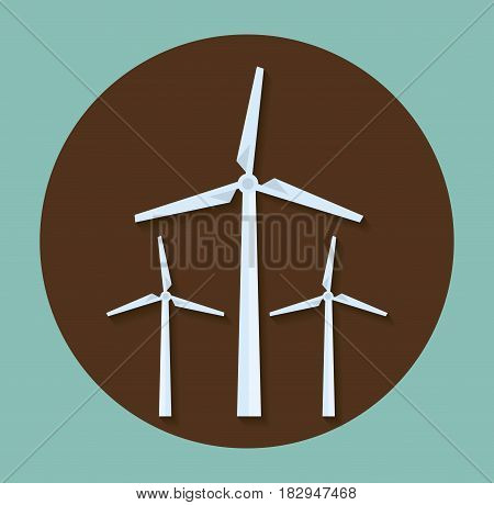 eolic turbines icon over brown circle and blue  background. colorful design. vector illustration