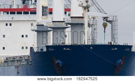 CARGO SHIP - The bulk carrier is on the sea