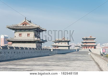 SHANXI CHINA - Sept 23 2015: Datong City Wall. a famous historic site in Datog Shanxi China.