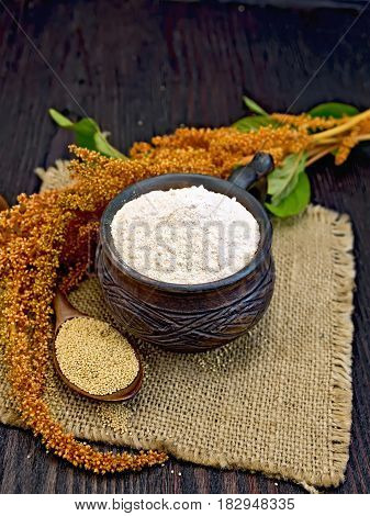Flour Amaranth In Clay Cup With Flower On Board