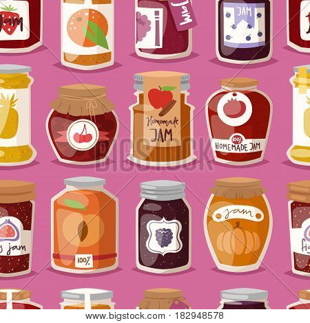 Glass jar with with jam configure or honey vector illustration packaging seamless pattern. Label bank background homemade conserve marmalade dessert. Sweet container lid strawberry pot.