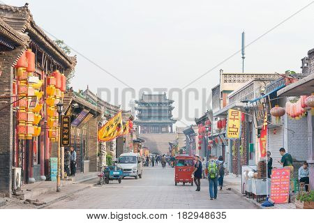Shanxi, China - Sept 03 2015: Morning View Of Ancient City Of Ping Yao(unesco World Heritage Site).