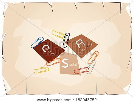Business Concepts, Paper Clips with CSR Abbreviation or Corporate Social Responsibility Achieve Notes on Old Antique Vintage Grunge Paper Texture Background.