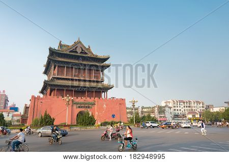 Shanxi, China - Sept 01 2015: Lnfen Drums Tower. A Famous Historic Site In Linfen, Shanxi, China.