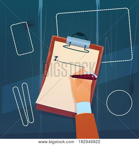 Hand Hold Empty Check List Paper Document Writing Flat Vector Illustration