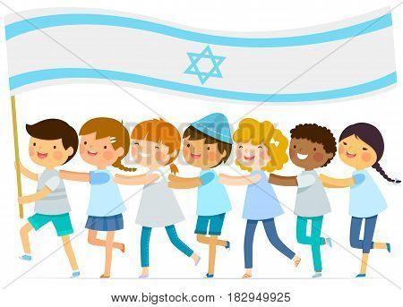 kids walk in a line with a big Israeli flag