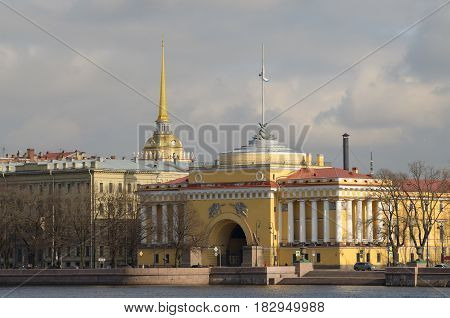 Russia.The City Of St. Petersburg.Cityscape with view of the Admiralty Building