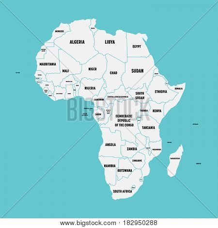 Simple flat map of Africa continent with national borders and country name labels on blue background. Vector illustration.