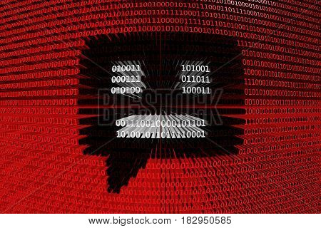 chatbot in the form of binary code, 3D illustration