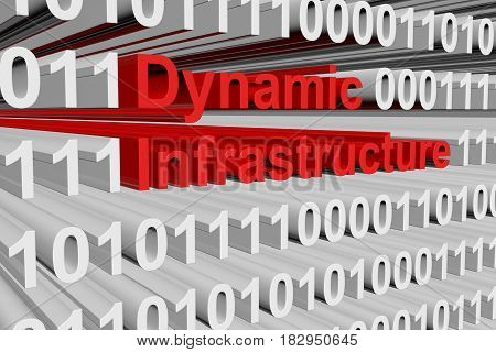 Dynamic infrastructure in the form of binary code, 3D illustration